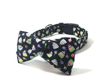 Happy Birthday Dog Collar, Happy Birthday Cat Collar, Matching Bow Tie Set, Collar with Matching Flower Bow, Birthday Dog Gift, Birthday Cat
