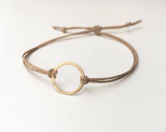 Leather and SOLID Gold Bracelet - 14K Solid Gold Eternity Open Circle Friendship Bracelet Adjustable Boho Style Wrap Bracelet