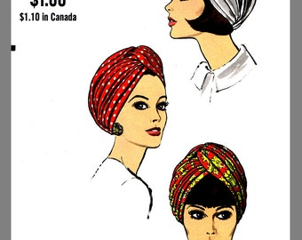 1960s Vintage Turban Hat Millinery Sew Material  Fabric Sewing Pattern Sz 22.5 #7519 Copy