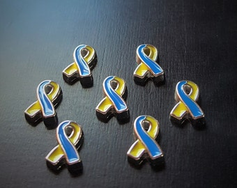 Down Syndrome Ribbon Floating Charm for Floating Lockets-Yellow & Blue Ribbon-1 Piece