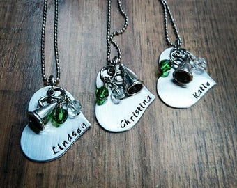 Hand Stamped Personalized Cheerleader Necklace - Cheerleading Gift - Cheerleading Gifts - Cheerleader Gifts For Team