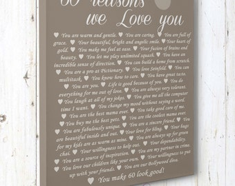 60th Birthday Present, Reasons we love you, 30th, 40th, 50th, 70th, 80th, 90th, Custom Birthday Gift, Anniversary gift, Mother Birthday