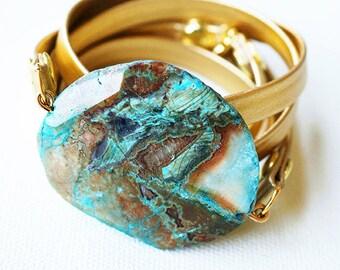 Kendama Jasper & Leather Wrap Bracelet