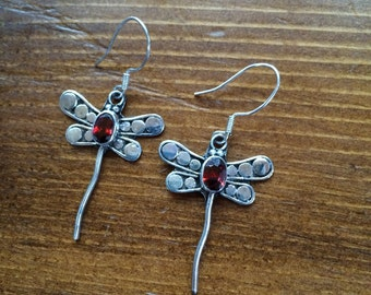 Garnet Dragonfly earrings sterling silver 925 dangle drop faceted stone