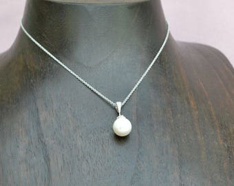 Pearl drop necklace, bridal pearl necklace, bridesmaid pearl necklace, pearl bridal jewelry