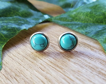 Turquoise Natural Gemstone Studs