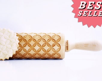 Rolling Pin engraved: CIRCLES , DIAMONDS, hypocycloid - Embossing rolling pin birthday gift for girlfirend, kitchen gadget. * Wedding gift *