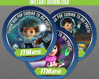 Disney Miles from Tomorrowland Birthday Favor Tags - INSTANT DOWNLOAD -  Edit and print the file at home with Adobe Reader