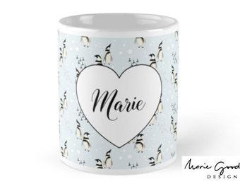 penguin, penguin gift, penguin mug, personalised mug, cute mug, gift for women, gift for boyfriend, cute gifts, gift for bestfriend, mug