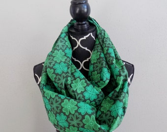 Pop O' Color Green Shamrock Scarf St Patty Day Scarf FREE Scrunchie with Irish Scarf Saint Patricks Celtic Infinity Scarf Clover Scarf Pats