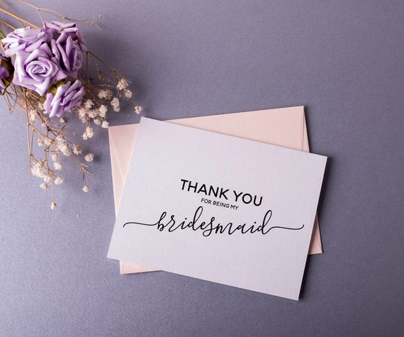 Thank You Bridesmaid Card Bridesmaid Gift Wedding Card Thank You for being My Bridesmaid Gift Card BULK Pack