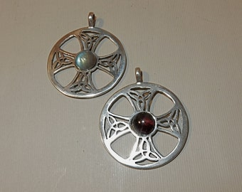 Celtic Cross in Sterling Silver with Garnet or Labradorite