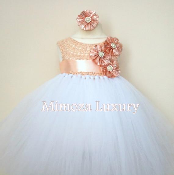 SALE size 0-6m, 6-12m Ready to ship, blush Flower girl dress tutu dress,  bridesmaid dress, Peach princess dress, crochet top tulle