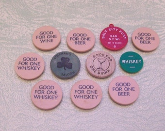 11 vintage liquor bar beer wine whisky shot tokens chips magnets barware