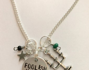 "Disney Parks Haunted Mansion Inspired Hand-Stamped Necklace - ""Foolish Mortal"""