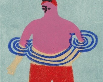 Limited Edition Linocut print art of swimmer in swimming pool Original Handmade printmaking square illustration by Hannah Forward miniature