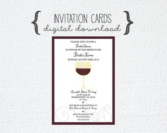 wine theme bridal shower invitation invite cards