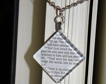 John 3:16 Book Page Necklace