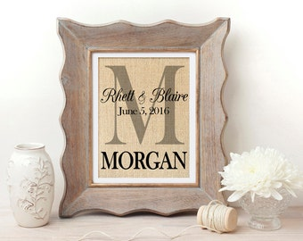 Personalized Wedding Gift | Wedding Decor | Burlap Wedding Print | Wedding Gift | Personalized Anniversary Gift | Burlap Monogram | For Her