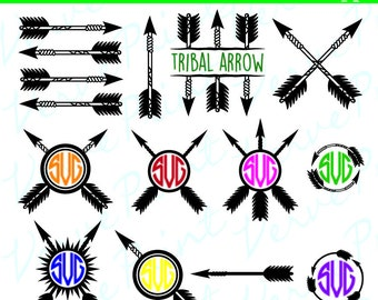 Tribal Arrow SVG Monogram Frames Svg, Ai, Eps, Pdf, Cutting file, Silhouette Clip Art svg Commercial use