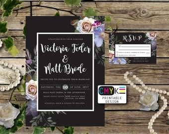 Black Wedding Invitation Set, Moody Wedding Invitation Set, Printable Wedding Invitation Suite, Custom Wedding Invites, DIY