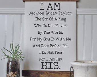 I am the son of a king/personalized/I am His/canvas art print/wall art/canvas print/wall decor