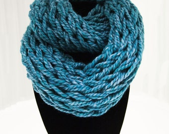 Teal Arm Knit Infinity Scarf