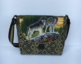 Wolves, Foxes, Crossbody Bag, Shoulder Bag, Cotton Wolf Print Purse