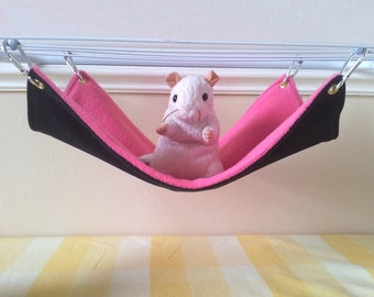 Long Pet Hammock Ferret hammock Black and Pink Handmade Hard Wearing Durable Upcycled Denim and Fleece Cage Accessory