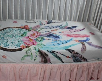 Dream catcher Baby Bedding, Dream catcher Fitted Crib Sheet, Dream catcher baby blanket, Dream catcher baby quilt, feathers, flowers