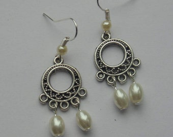 Small Chandelier Pearl Drop Earrings