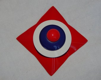Vintage Red White and Blue Brooch Geometric Domed Painted Enamel Metal Red White Blue Brooch