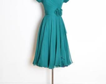 vintage 50s dress, silk chiffon dress, du barry dubarry dress, teal silk dress, 50s party dress, full dress, 50s prom dress, 50s clothing XS