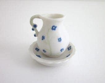 White Bisque Pitcher and Wash Basin ~ Duncan Enterprises Pitcher w Wash Basin ~ Dainty Blue Flowers ~ Farmhouse Decor ~ Cottage Decor