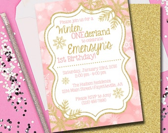 Winter ONEderland Invitation, Pink and Gold Winter ONEderland, Pink and Gold, Snowflakes, Printable
