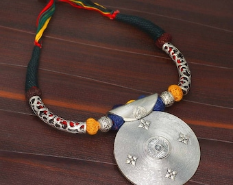 Handmade Silver Oxidized Amulet With Adjustable cord/Indian Jewelry