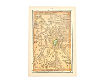 1936 - Jerusalem Map - Beautiful Old Map of Jerusalem - Small Vintage Map - Colorful Atlas Map - Gift - Home Decor