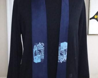 Vintage Necktie in Blue Polyesther For Desmond's From Resilio Featuring a Tower Top
