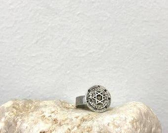 Unisex David star ring , Handcrafted star ring , Unique Magen David ring, Jewish sterling  ring