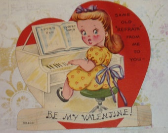 Love's Old Sweet Song Girl Playing Piano Vintage Valentine Card