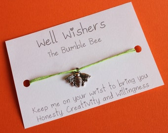 Bumble Bee Charm - Honesty, Creativity and Willingness | Bee bracelet, honey bee, wish bracelet, wish string, friendship gift, busy bee gift