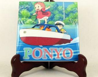 Studio Ghibli Art - Ponyo collectible ceramic tile - Studio Ghibli gift idea - Ponyo art - Ponyo print on tile - Studio Ghibli wall art