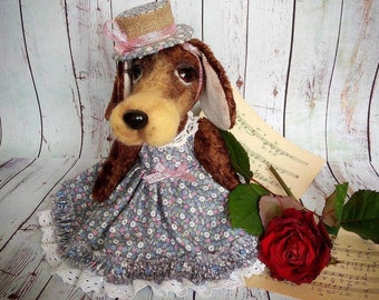 Dachshund.Lady,9.8 inches,Oterrier owner gift, custom stuff dog,artist teddy bear,custom teddy bear,dog owner gift,kawaii plush,dog portrait