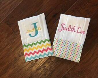 Burp Cloth. Baby Burp Cloth. Diaper Burpcloth/Cloth diaper Burp / chevron and polka dot - set of two - Baby Shower- Baby Gift - Newborn
