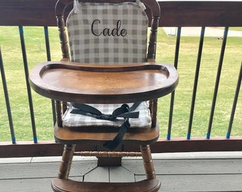 Ecru Plaid High Chair Pad / High Chair Cushion / Wooden High Chair Pad/ Highchair