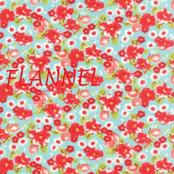 Aqua & Red Floral Flannel Fabric, Moda Little Ruby 55130 12F ... : quilting flannel fabric moda - Adamdwight.com
