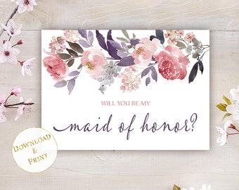 Maid of Honor Proposal Card, Printable Will You Be My Maid of Honor Card, Best Friend Proposal Card, 5x7 Fits A7 Envelope