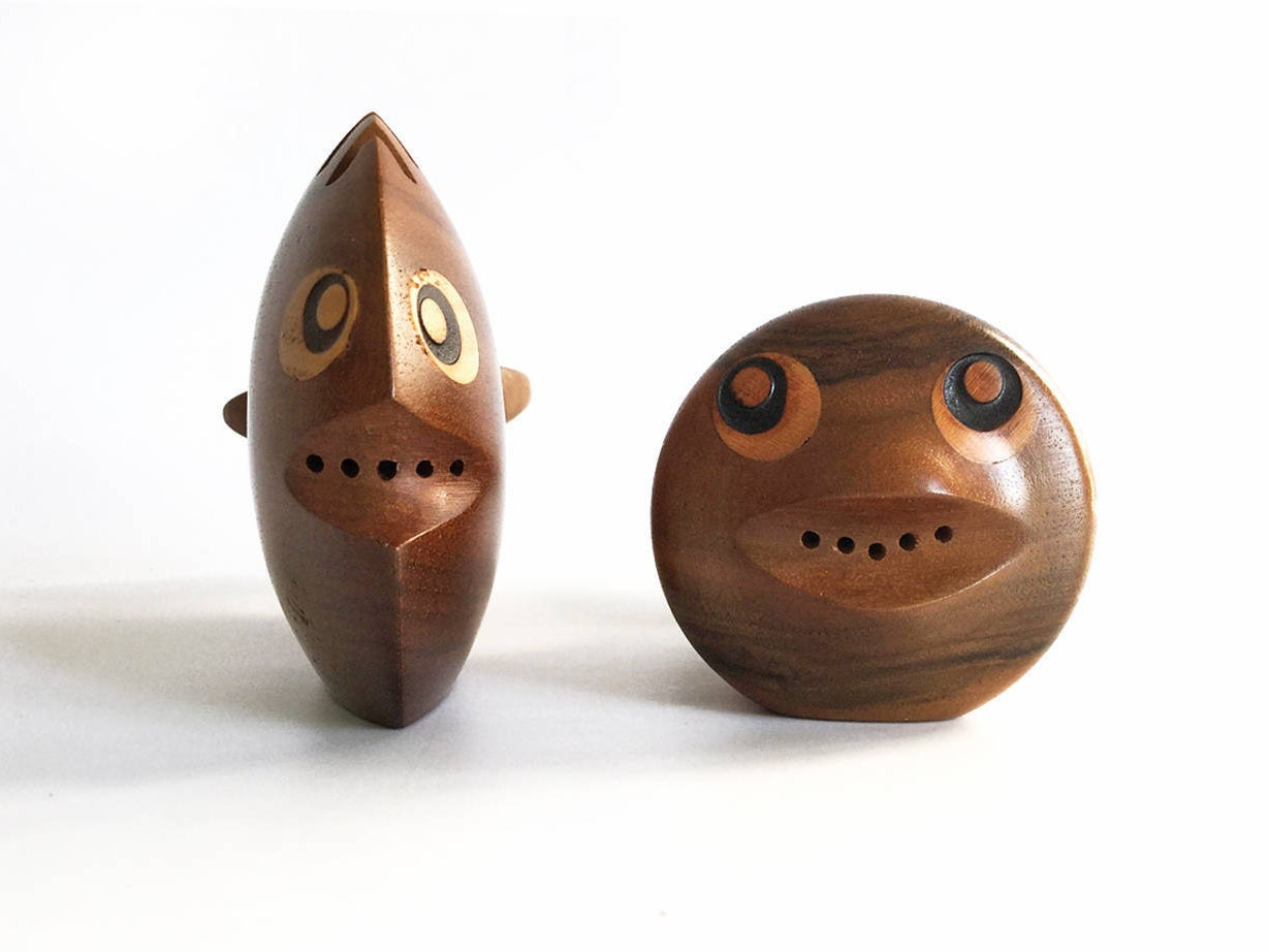 Wood Fish Salt And Pepper Shakers Funny Fish Salt And Pepper