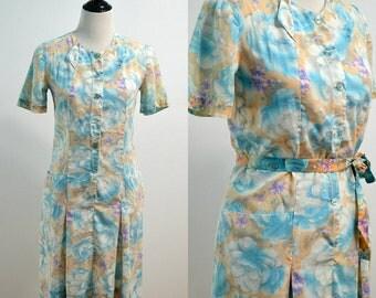 1960s Drop Waist Day Dress | 60s Vintage Dress | Blue Peach Floral Dress | Knee Length Dress | Medium M | Large L | Cotton Dress | Summer