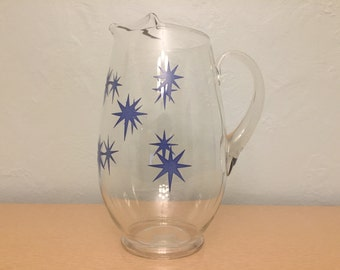 15% SALE *** Large Glass Pitcher with Blue Starbursts